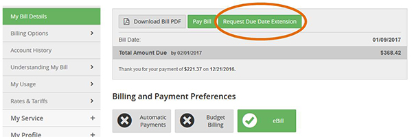 Image of Request Due Date Extension button on My Bill Details screen
