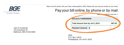 This is an image of a sample customer bill. E-bill delivery enrollment and more available through the My Bill and Usage page.
