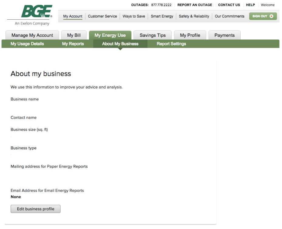 About My Business BGE.com Example
