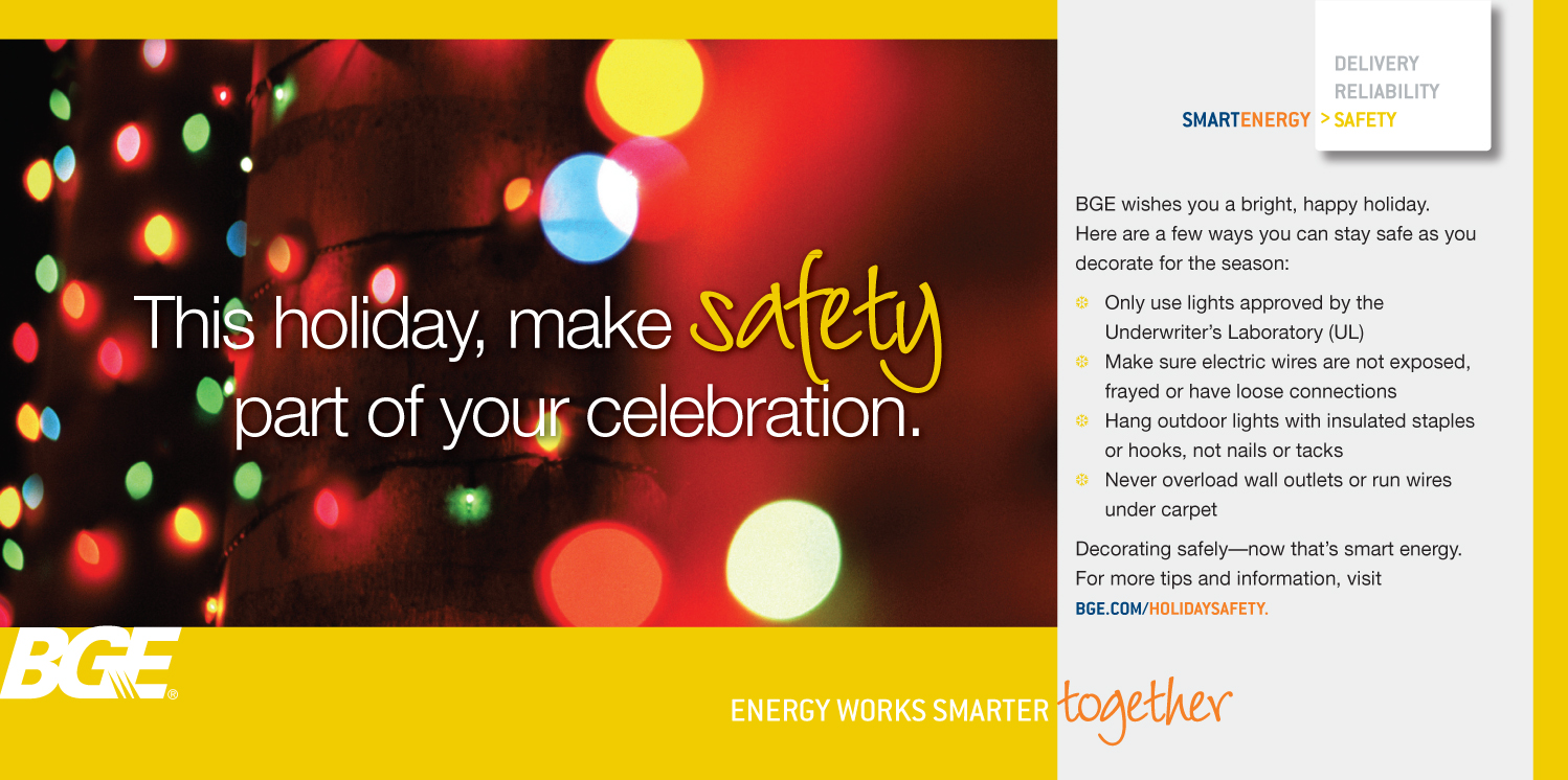 Holiday Safety Baltimore Gas And Electric Company