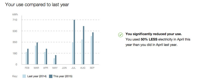 Sample report: your small business' monthly usage this year compared to your monthly usage last year.