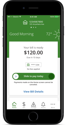 Slide to pay screens from the BGE mobile app