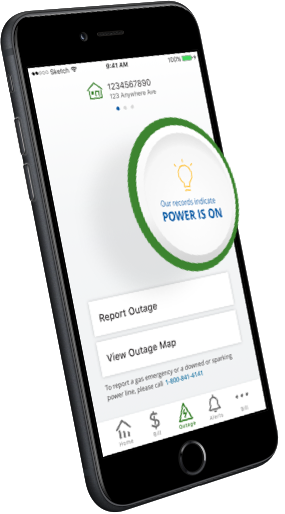 Outage check screen from the mobile app