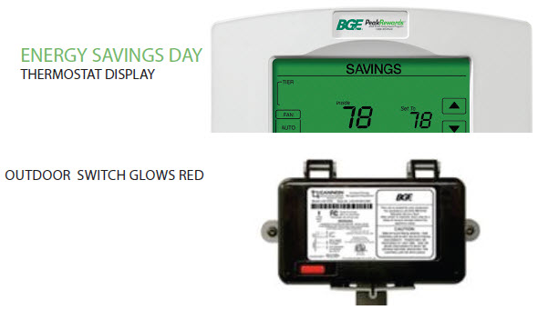 Energy Savings Day: Thermostat Display; Outdoor Switch Glows Red