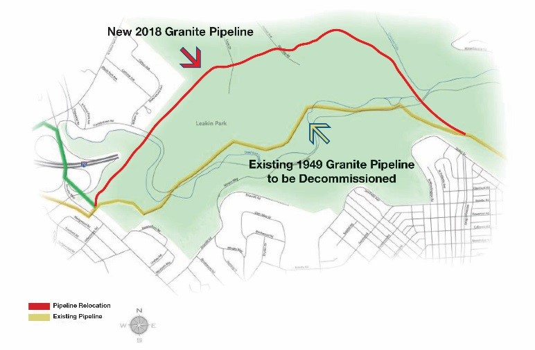 Map of Leakin Park showing location of current Granite Pipeline and location of new Granite Pipeline